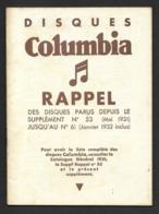 Musique.  Catalogue Illustré Des Disques  Columbia 1932. - Other
