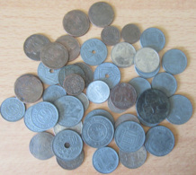 Belgique - Lot De 45 Monnaies 1 Centime à 5 Francs 1833 à 1943 Environ Dont 50 Cts Percée, 25 Cts 1016, Etc... - Collections