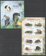 O1026 2012 MOZAMBIQUE MOCAMBIQUE FAUNA ANIMALS RODENTS ROEDORES EXTINTOS 1SH+1BL MNH - Knaagdieren