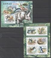 B180 2012 MOZAMBIQUE MOCAMBIQUE FAUNA EXTINCT ANIMALS ANIMAIS EXTINTOS 1SH+1BL MNH - Stamps
