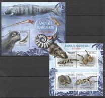 B185 2012 MOZAMBIQUE MOCAMBIQUE MARINE LIFE ANIMAIS MARINHOS EXTINTOS 1KB+1BL MNH - Marine Life