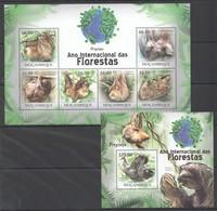 O1168 2011 MOZAMBIQUE MOCAMBIQUE FAUNA DAS FLORESTAS ANIMALS SLOTH PREGUICA 1SH+1BL MNH - Postzegels