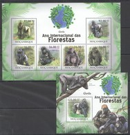 O1176 2011 MOZAMBIQUE MOCAMBIQUE FAUNA DAS FLORESTAS ANIMALS GORILLAS 1SH+1BL MNH - Gorillas