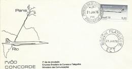 BRASIL,  SOBRE CONMEMORATIVO   CONCORDE, AÑO  1976 - Brieven En Documenten