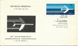 ARGENTINA,  SOBRE PRIMER DIA  ANIVERSARIO AEROLINEAS  ARGENTINAS  AÑO  1976 - Argentinien