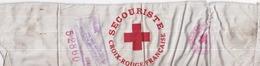 CROIX ROUGE FRANÇAISE - Brassard Secouriste N° 52860 Validé 1945 - Tissu Soyeux - Dimensions : 8 X 31 Cm - Red Cross