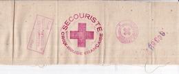 CROIX ROUGE FRANÇAISE - Brassard Secouriste Validé 1945 - Tissu - Dimensions : 10,5 X 33,5 Cm - Red Cross
