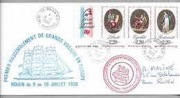 """Tir- VOILES De La LIBERTE -  ROUEN  1989 - Cachet Du """" DRUZHBA """" Sur Enveloppe Du 14.7.1989. - Marcophilie (Lettres)"""