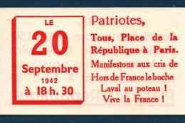 PRESSE PROPAGANDE GUERRE 1939 1945  RESISTANCE PARIS 20 SEPTEMBRE 1942 - 1939-45