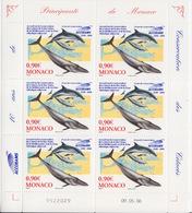 Monaco, N° 2554 (Dauphins, Baleine, Accord Sur La Conservation Des Cétacés En Mer Noire) Feuillet De 6 TP, Neuf ** - Neufs