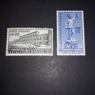 """PL128 REPUBBLICA ITALIANA 1950 5'' CONFERENZA UNESCO SERIE COMPLETA 2 VALORI """"XX"""" - 1946-60: Nuevos"""