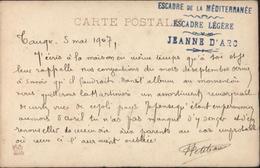 Carte En FM Cachet Escadre De La Méditerranée Escadre Légère Jeanne D'arc Tanger 5 MAI 1907 CPA Tanger Cabo Espartel - Maroc (1891-1956)