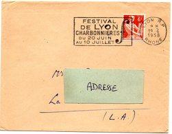 RHONE - Dépt N° 69 = LYON RP (2e ARR.) 1958 = FLAMME Non Codée =  SECAP  Illustrée 'FESTIVAL CHARBONNIERES' - Postmark Collection (Covers)