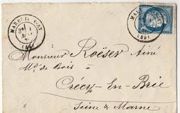 N° 60C 1876 Mareuil Sur Ay à Crécy En Brie - 1849-1876: Periodo Classico