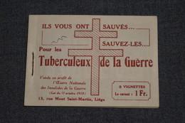 Carnet Avec 4 Vignettes Tuberculeux De La Guerre 14-18 ,O.N.I.G.,publicité De Cigarettes Et Café Chat Noir - Booklets 1907-1941