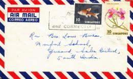 SINGAPOUR - Lettre Par Avion Pour L'Inde - Poissons - Orchidée - Singapore (1959-...)