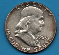 USA 1/2 DOLLAR 1963 Franklin Half Dollar Silver 0.900  KM# 199 - 1948-1963: Franklin