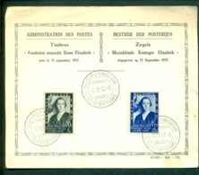 België Belgique Document FDC Muziekfonds Koningin Elisabeth 1937 - ....-1951