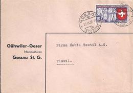 """Motiv Brief  """"Gähwiler-Geser, Manufakturen, Gossau SG""""          1939 - Suisse"""