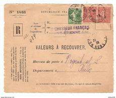 DEVANT De LETTRE Rec. Le CHASSEUR FRANCAIS St ETIENNE 1929 - NOGENT Sur SEINE - VALEURS à RECOUVRER - SEM 199 + 159 - 1921-1960: Période Moderne