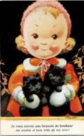 Carte Signée Taylor Petite Fille Avec Deux Petits Chats Noirs - Taylor