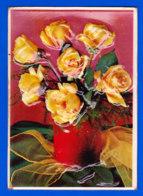 Fant-387P48 Carte Gaufrée, Type Plastique, Bouquet De Fleurs En Relief - Fantaisies