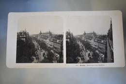 Photo Stereoscopic Stereoscopy - Paris - Boulevard Des Italiens  Animated 1906 - Stereoscoopen