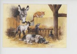 """Derick Bown Illustrateur """"Bless This House"""" (étable Ane Chat Agneau Mouton Chien Pigeon) - Animaux & Faune"""