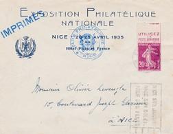 N° 190 Pub Utilisez La Poste Aérienne S / Env Complète T.P. Ob Mécanique Fliers Nice 27 IV 1937 Pour Nice - 1921-1960: Période Moderne
