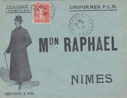 N° 140 S / Env Complète Illustrée Mon Raphael T.P. Ob Aubenas 1 8 10 Pour Nimes - 1921-1960: Période Moderne