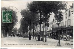 VERSAILLES  Avenue De Saint-Cloud . Le Marché Aux Fleurs.  Attelage  Restaurant Du Panier Très Bon état - Versailles