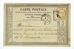 Carte Postale 1876 Chalais --> Montmorteau, Charente, Affr. 15c , Losange Ambulant PB 2 Et Tad Bordeaux à Paris - Storia Postale