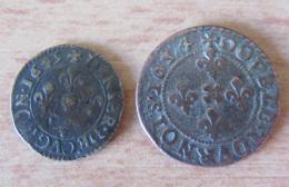 France - Ardennes - Denier Tournois + Double Tournois De Cugnon 1634 / 1649 - TTB - 476-1789 Monnaies Seigneuriales