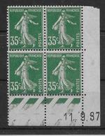 France N°361 - Bloc De 4 Coin Daté - Neuf ** Sans Charnière - TB - 1906-38 Sower - Cameo