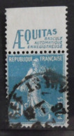 France N° 192b Oblitéré. Semeuse Bleu 30c. Timbre De Carnet. Bande Publicitaire Publicité Pub. - Publicités