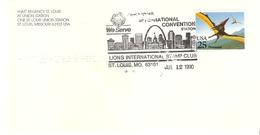 ETATS UNIS USA CACHET OBLITERATION FLAMME LIONS CLUB ST LOUIS CONVENTION INTERNATIONALE 1990 TIMBRE PTERANODON - 1981-1990