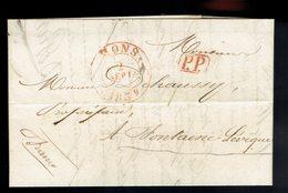 Lac écrite De Lessines / Mons 2 SEPT 839 Port Payé ( Griffe Man Franco) => Fontaine L'Evêque Verso Port Rectifié - 1830-1849 (Belgique Indépendante)