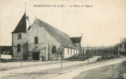 ECQUEVILLY LA PLACE ET L'EGLISE - France