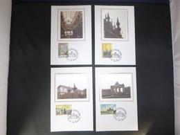 """BELG.1996 2642 2643 2644 & 2645 Mcards Soie/zijde (Bruxs) : """" Bruxelles, Coeur De L'Europe /Brussel, Hart Van Europa """" - 1991-00"""