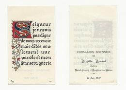 Enghien-les-Bains, Communion Solennelle De Brigitte Rouaud, 1949, Lettrine, Enluminure - Devotion Images