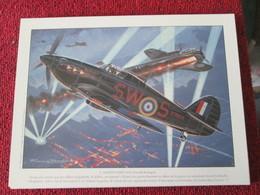 CAGI4 Superbe Gravure Francis BERGESE Sur Carton Fort 180gr , Format Env. A4 , AVIATION 39/45 : HAWKER HURRICANE Night F - Aviation