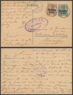 Belgique 1916 - Entier Postal Obaix-Buzet Vesr Manage - Censure De Charleroi - Entiers Postaux