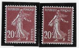 France N°139 - 2 Nuances Différentes - Neuf ** Sans Charnière - TB - 1906-38 Sower - Cameo