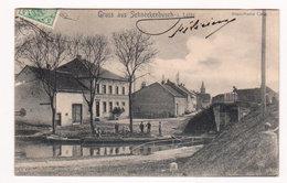 CPA Pays SARREBOURG 1911 : Gruss Aus SCHNECKENBUSCH I. Lothr. Rhein-Marne Canal  Animée Resto Personnages  2 Scans - Sarrebourg