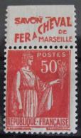 France N° 283 II Neuf **. Timbre De Carnet. Bande Publicitaire Publicité Pub. - Advertising