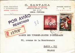 PORTUGAL - 1968 - Lettre Recommandée Par Avion Voir Scanspour La France - 1910-... Republic