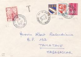 "MADAGASCAR TAXE 45 5f Obl "" TAMATAVE 2/7/76 "" Sur Lettre De FRANCE - Timbres-taxe"