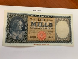 Italy 1.000 Lira  Banknote  1947  #5 - 1000 Lire