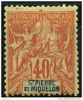 Saint Pierre Et Miquelon (1892) N 68 * (charniere) - Neufs