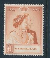 GIBRALTAR, 1948 Silver Wedding 1 Pound Light Fine MM, Cat GBP 60 - Jersey